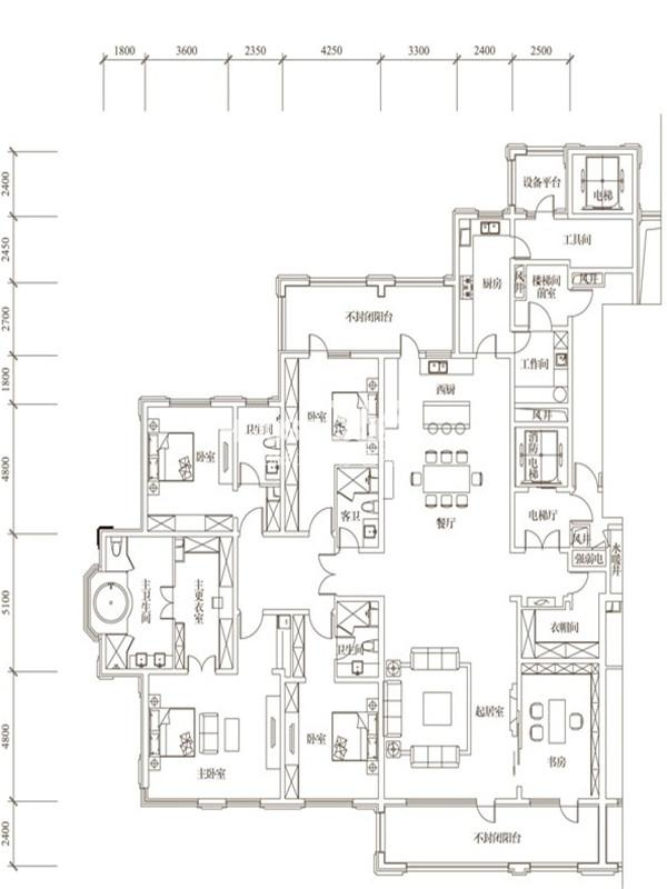 万科柏翠园F户型5室3厅4卫1厨 400.00㎡