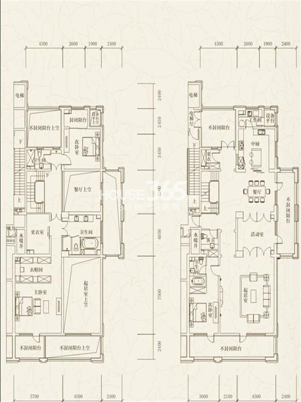 万科柏翠园E户型4室3厅3卫1厨 350.00㎡