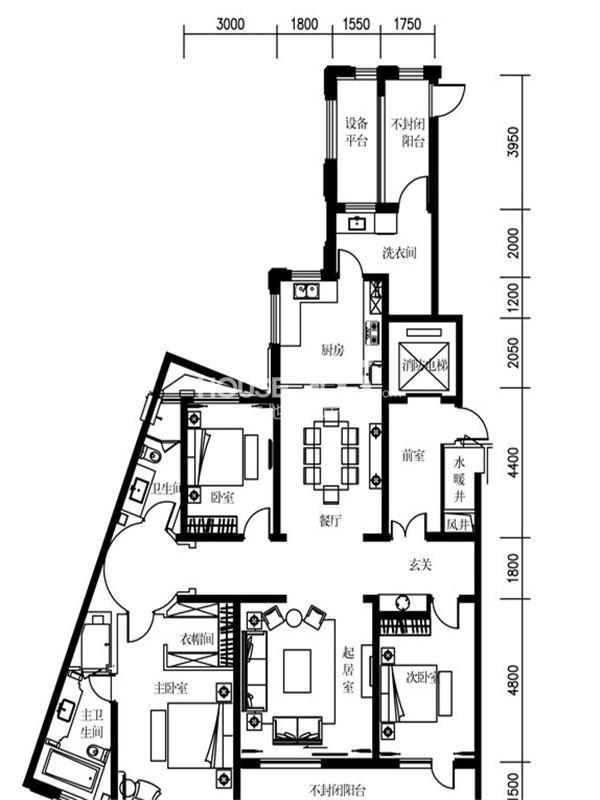 万科柏翠园B户型3室2厅2卫1厨 195.00㎡
