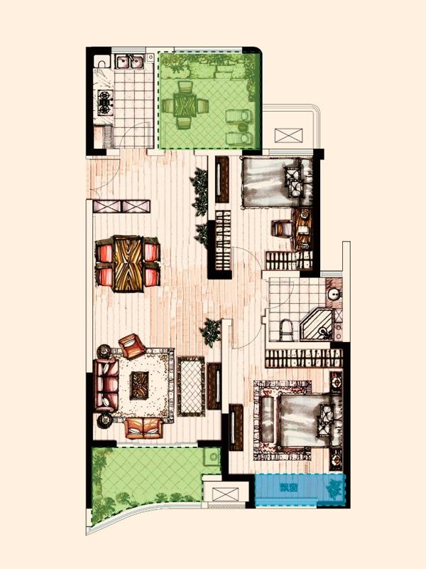 C户型 2室2厅1卫1厨 106.47平
