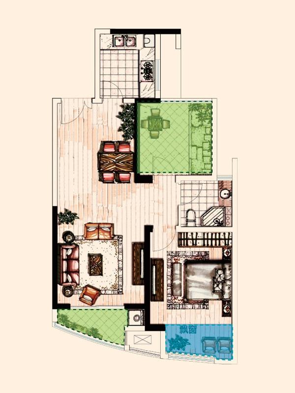B户型 1室2厅1卫1厨 79.94平