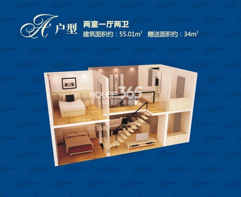 依云小镇C户型两室一厅一厨两卫55.01㎡