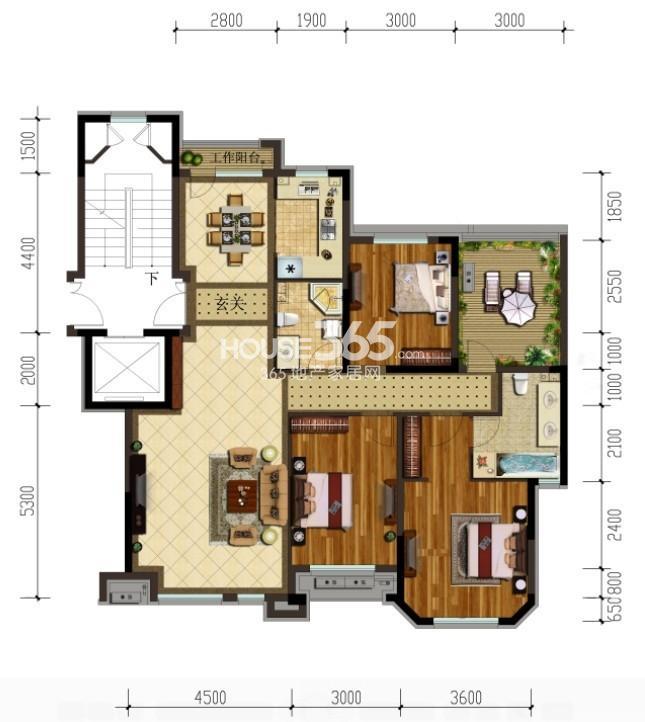 金地锦城三室二厅二卫户型图125平米