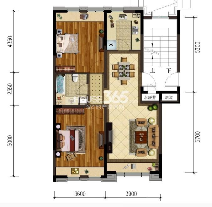 金地锦城二室二厅一卫户型图90平米