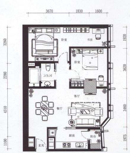 夏宫城市广场B2户型 125.78㎡2室2厅1卫1厨 125.78㎡