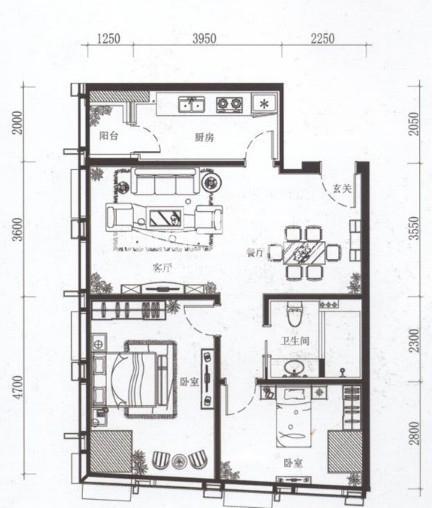夏宫城市广场B4户型 120.34㎡2室2厅1卫1厨 120.34㎡
