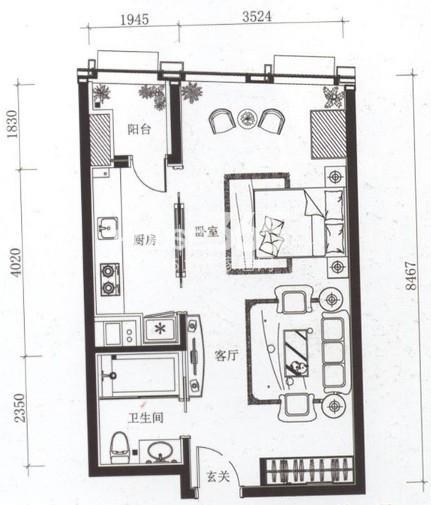 夏宫城市广场户型图 A4户型 75.38㎡