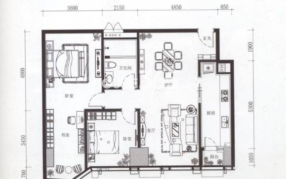 夏宫城市广场B3户型 149.19㎡2室2厅1卫1厨 149.19㎡