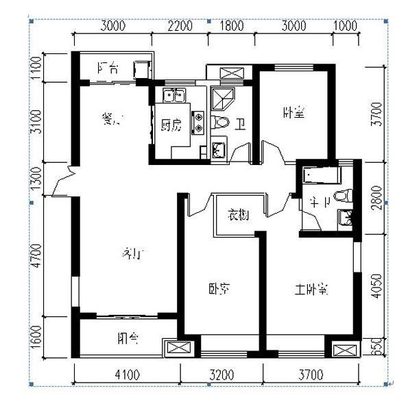 紫薇风尚三期锦程户型3室2厅2卫1厨 135㎡