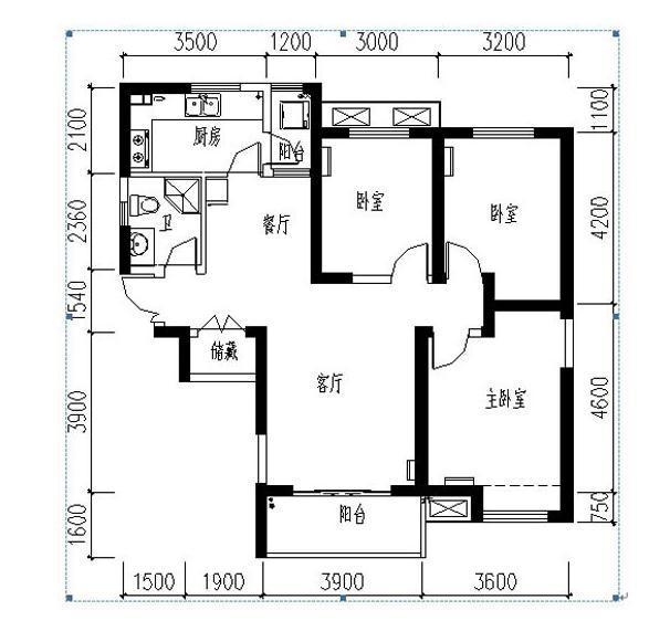 紫薇风尚三期锦程户型3室2厅1卫1厨 110.00㎡