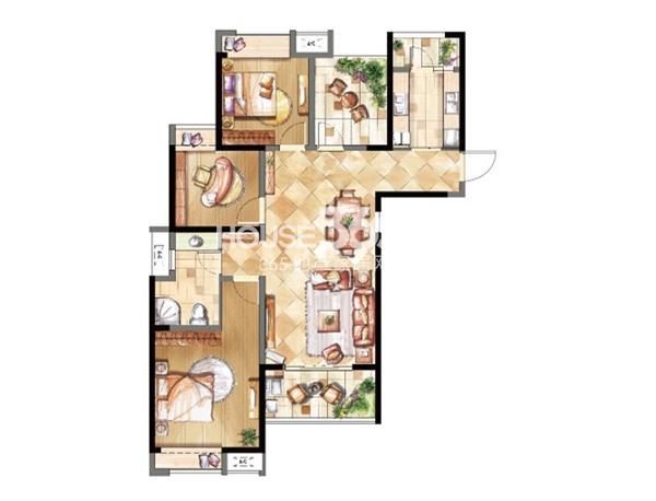 鑫苑鑫城C3户型三室两厅一卫 121平米