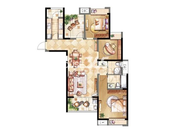 鑫苑鑫城C2户型三室两厅两卫 119平米