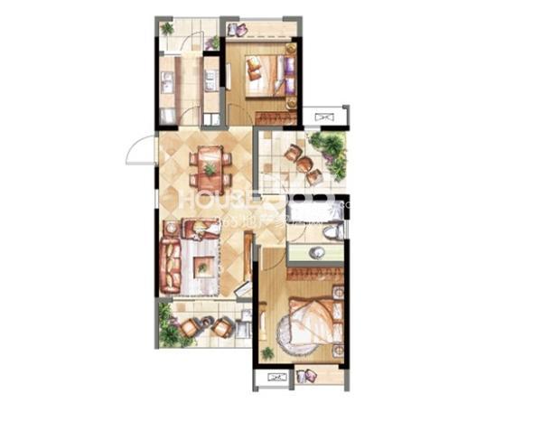 鑫苑鑫城B2户型两室两厅一卫  91平米
