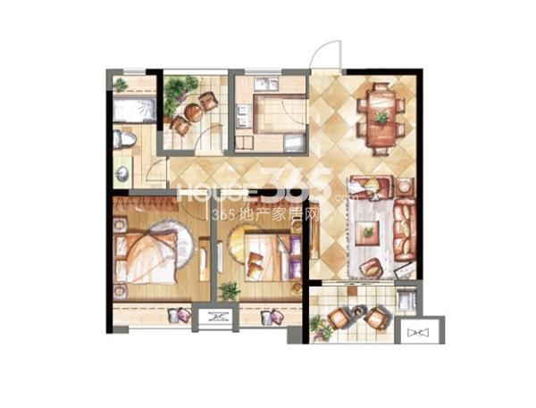 鑫苑鑫城B1户型两室两厅一卫  89平米