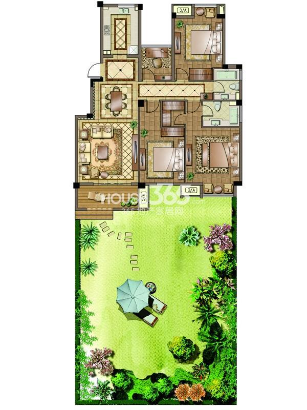 2#-01室-一层-三房两厅两卫 105平