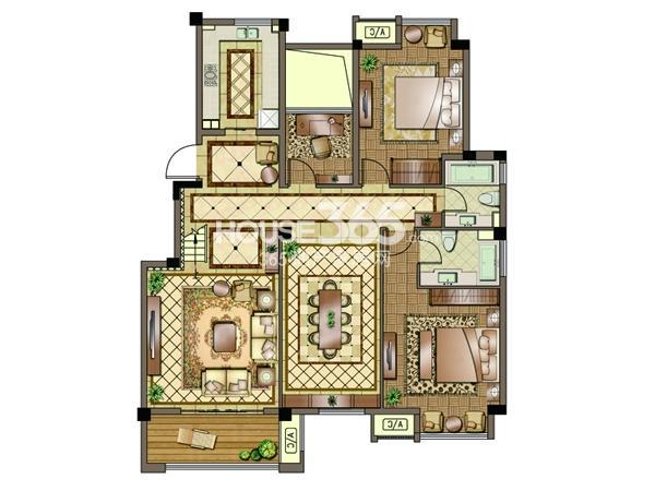 2#-01室-四层-三房两厅两卫 105平