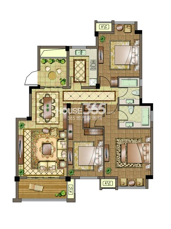 3#-标准层-三房两厅两卫 130平