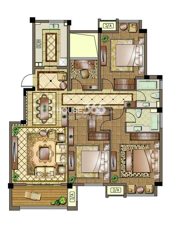 2#-01室-标准层-三房两厅两卫 105平