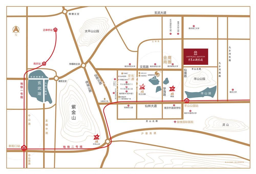 星叶羊山湖花园交通图
