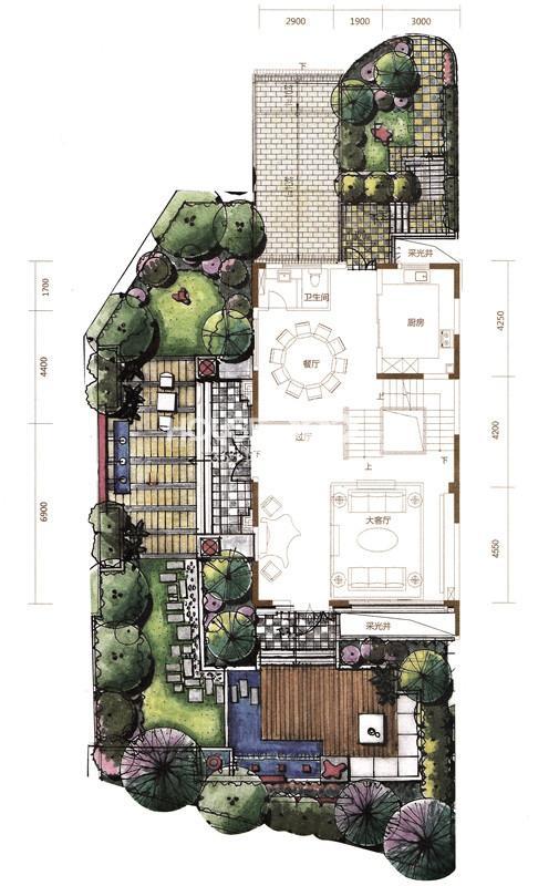 金河湾户型图 A户型397.57平米 一层