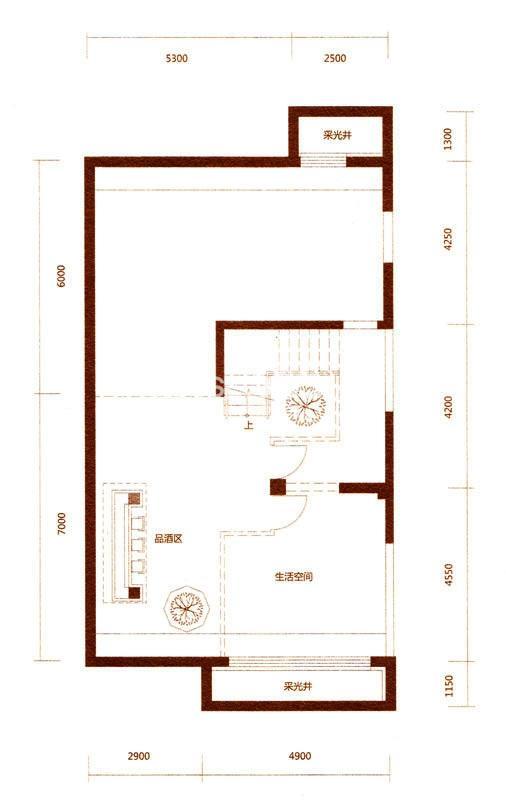 金河湾户型图 A户型397.57平米 地下一层