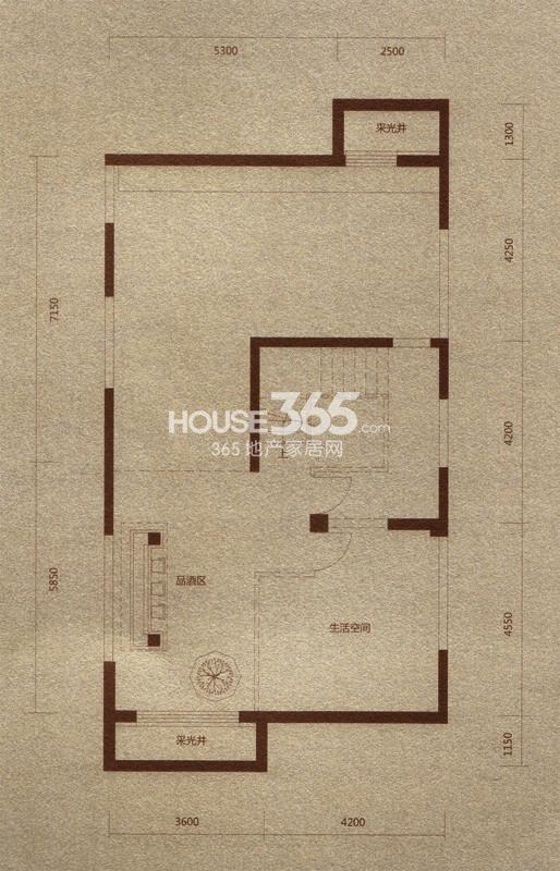 金河湾户型图 B户型392.61平米 地下一层