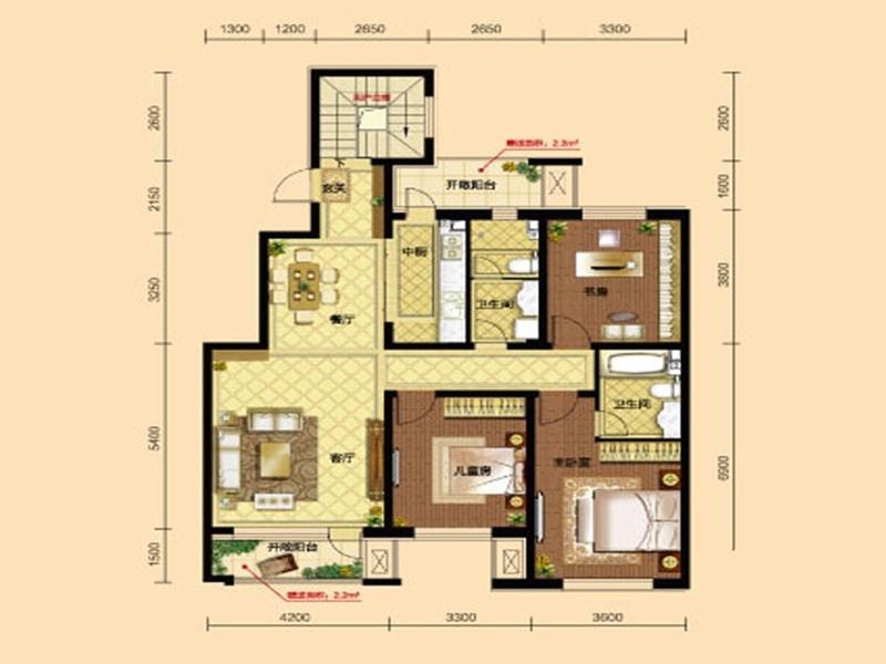 九洲御府三室两厅两卫140平户型图