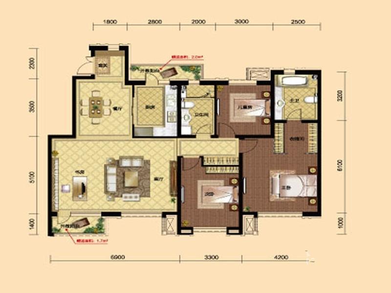 九洲御府411户型图洋房-033室2厅2卫1厨 158.00㎡