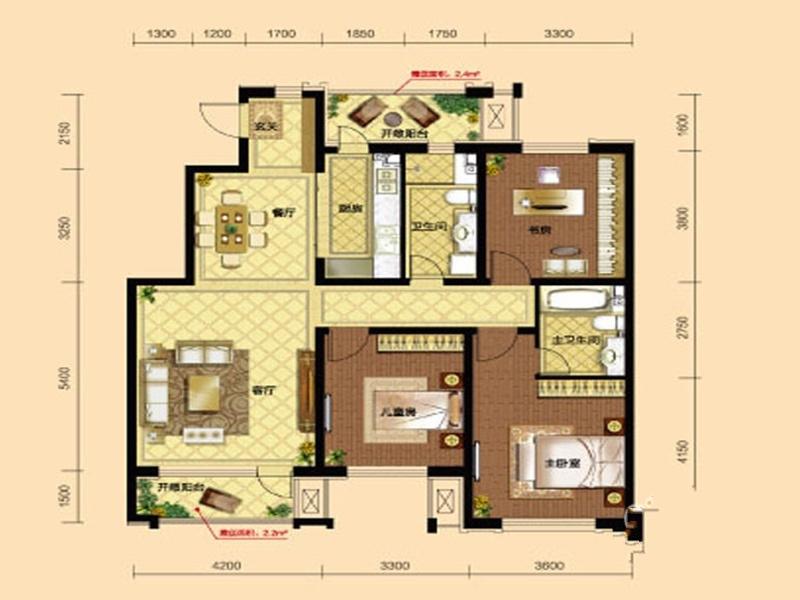 九洲御府411户型图洋房-023室2厅2卫1厨-133.00㎡