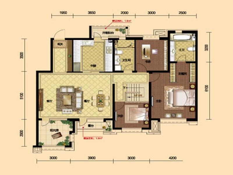 九洲御府411户型图洋房-054室2厅2卫1厨 161.00㎡