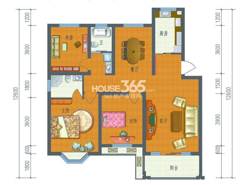 芳草名苑二期7、8、10、11栋1、6层,9栋1、4层C户型3室2厅2卫1厨 119.55㎡