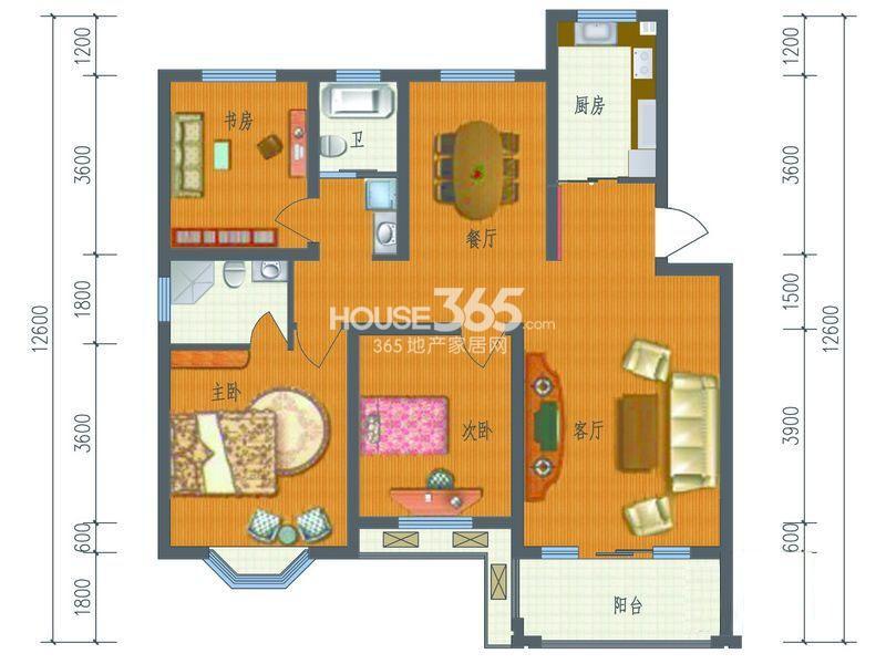 芳草名苑二期A户型 3室2厅2卫1厨 121.33㎡