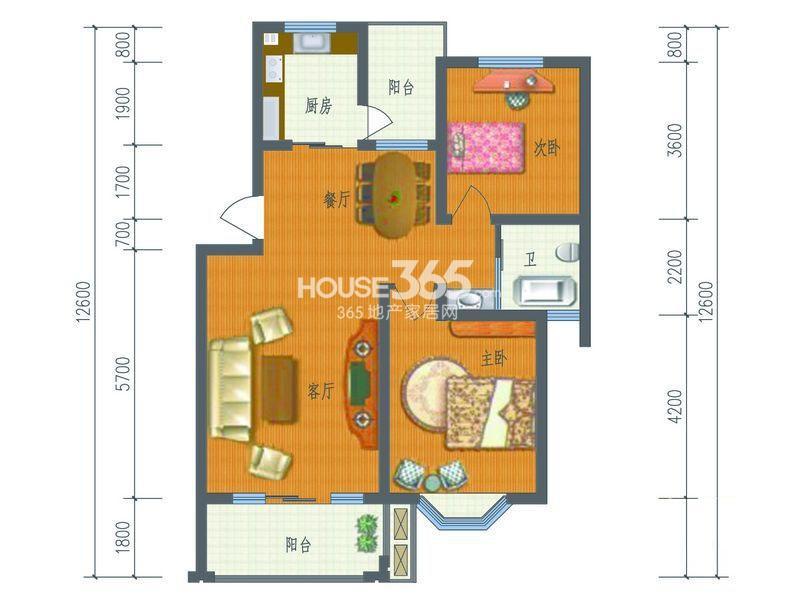 芳草名苑二期7、8、10、11栋2-5层B户型2室2厅2卫1厨 93.05㎡