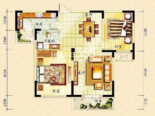 同方广场户型图 F户型 两室两厅一卫 94m2