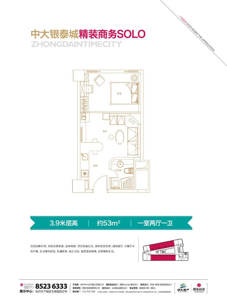中大银泰城精装商务solo户型 约53㎡ 1室2厅1卫