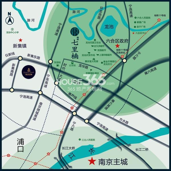 骋望七里楠花园交通图