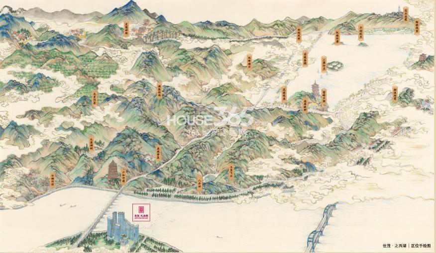 世茂之西湖区位手绘图-世茂之西湖楼盘图库 杭州世茂之西湖 杭州新房