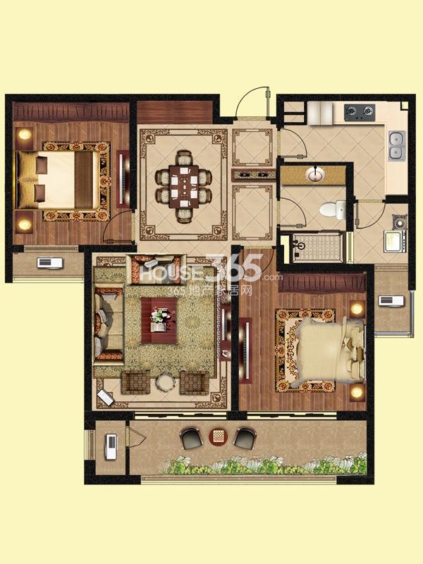 峰景世界-两房两厅一卫 105平