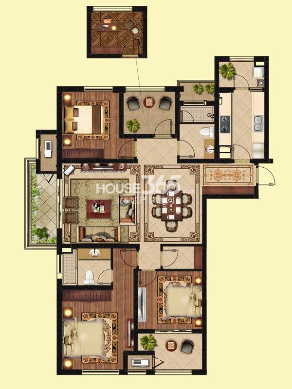 尊荣时代-3+1房两厅两卫 143平