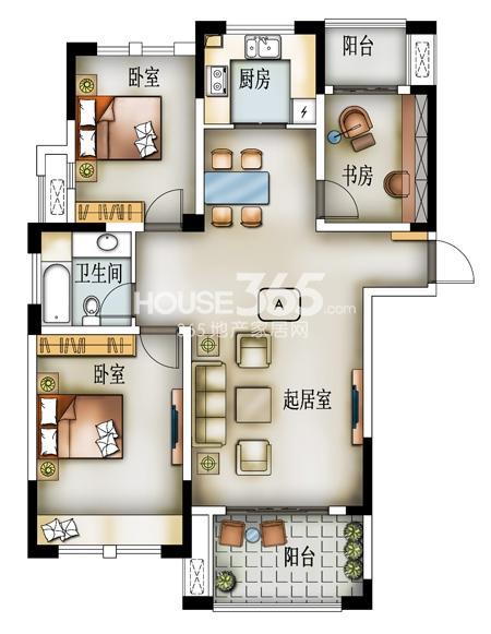 J01户型-33#楼 113㎡三房