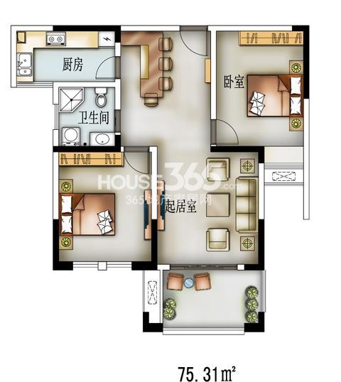 I01户型-33号楼89㎡两房