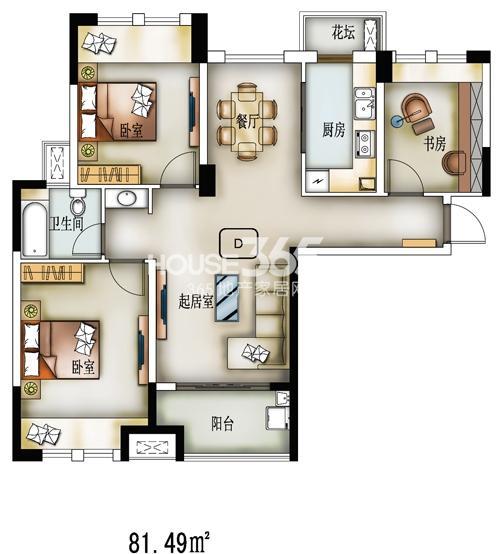K户型-34#-建筑面积102.66㎡,套内面积81㎡