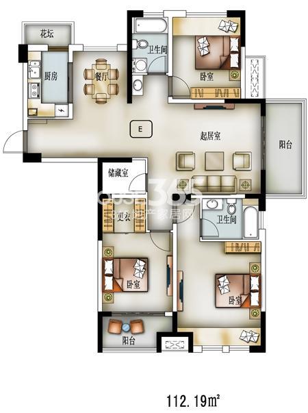 L户型-34#-建筑面积140.75㎡,套内面积112 ㎡