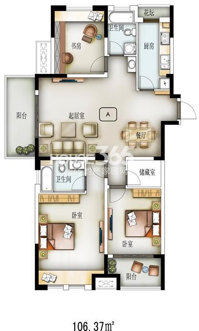 H02户型-34#-建筑面积133.43㎡,套内面积106㎡