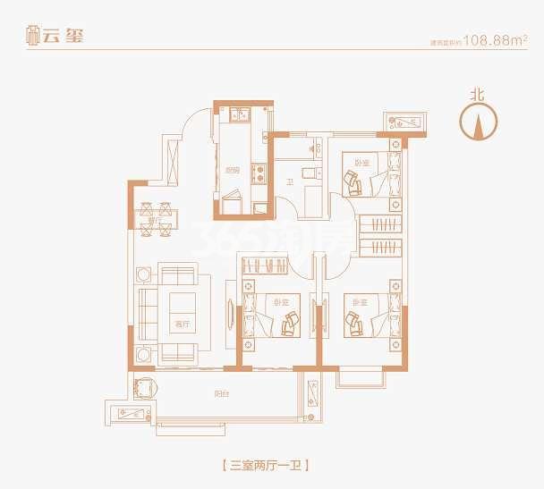 海尔产城创云玺108.88平户型图