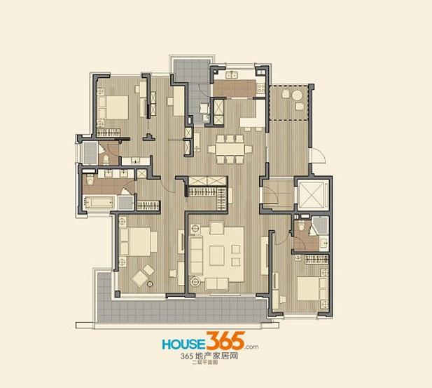 仁恒海和院B3户型 四室两厅三卫 建筑面积217-219平