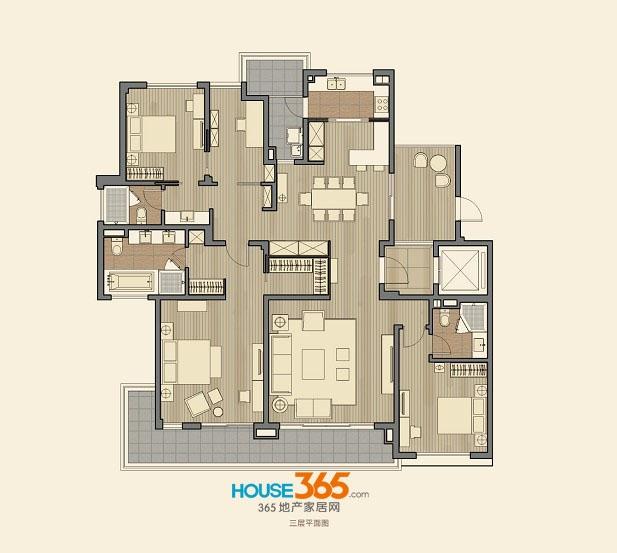 仁恒海和院B4户型 四室两厅三卫 建筑面积217平