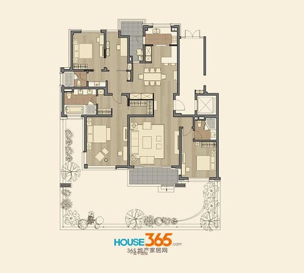 仁恒海和院B2户型 四室两厅三卫 建筑面积200平