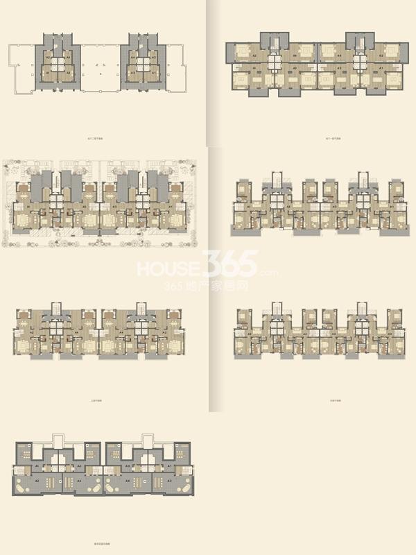 仁恒海和院双叠A'1户型 五室三厅五卫 建筑面积291平 地下面积102-104平