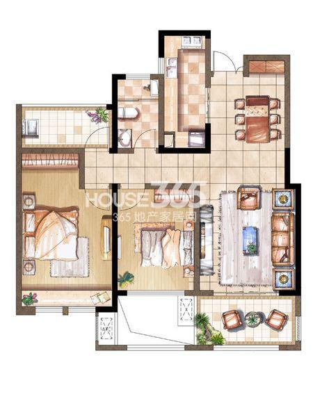 尚景湾10#标准层G户型2室2厅1卫1厨 100.00㎡